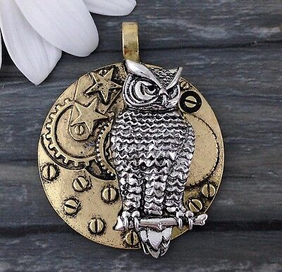 2pcs Owl Pendant with Stars Gold and Silver Tone Steampunk  CH114