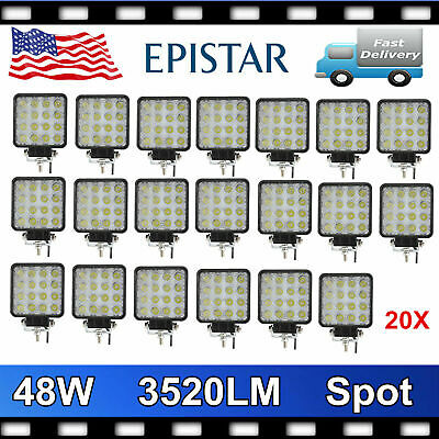 20X 48W LED Work Light Spot Light Off Road RZR Car 4X4WD Jeep Truck Suv 12V 24V