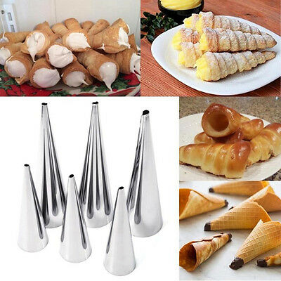Set of 3 Cream Horn Cases Forms Pastry Dessert Stainless Steel Mold NEW