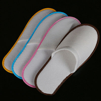 4 Pairs of White Towel Home Hotel Disposable Slippers Terry Spa Guest Shoes