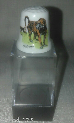 Baboon Collectable Bone China Thimble - Free Hard Case