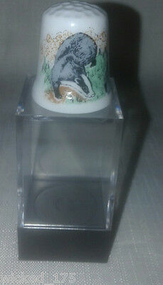 Badger Collectable Bone China Thimble - Free Hard Case