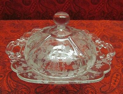 Beautiful Rare Cambridge Rose Point Covered Butter Dish W/ Round Knob 3400 Nr!!