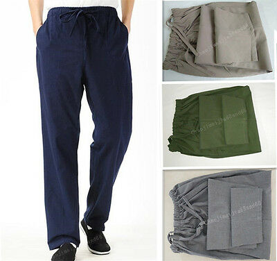 100% Cotton Kung Fu tai chi martial arts pants wing chun Bruce Lee Trousers Mens