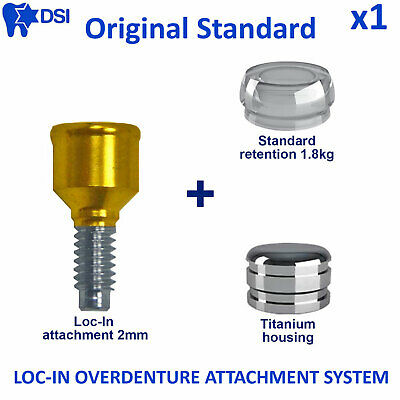 Dental Implant Loc-In Removable Overdenture Abutment Attachment Insert 2mm