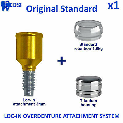 Dental Implant Loc-In Removable Overdenture Abutment Attachment Insert 3mm