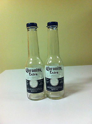 Upcycled Corona Beer Bottle Salt & Pepper Shakers Set Collectable Authentic