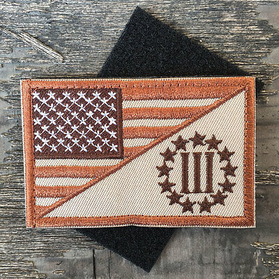 USA American Flag Three Percenter US Military Tactical Morale Desert Badge Patch