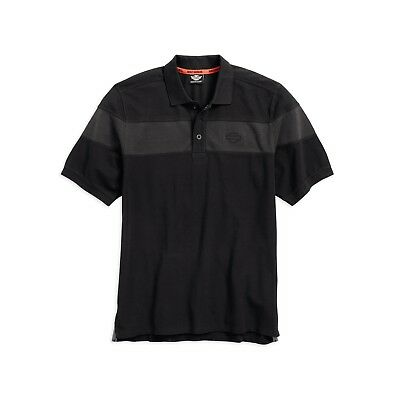 Harley-Davidson Men's Chest Stripe Polo Shirt Gr. XXL Herren Poloshirt, schwarz