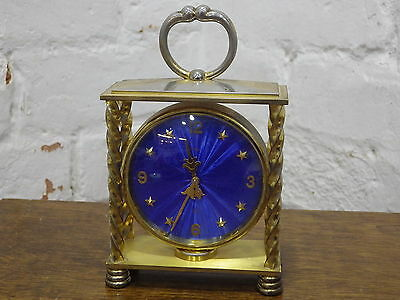 Vintage Imhof Mantel / Carriage Clock With Electric Blue Dial