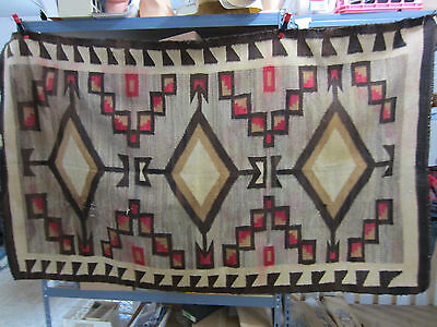 Vintage Southwestern Style Woven Wool Rug- Geometric Native Design