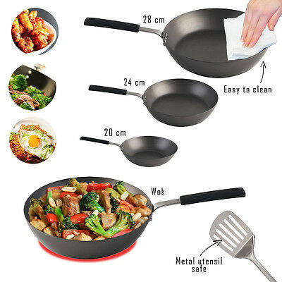 Salter Professional Carbon Steel Seasoned Pan For Life Non Stick Wok Cooking Set