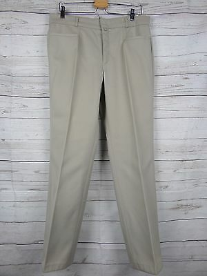 Vtg 1970s Beige Straight Leg Wool Blend Tergal Trousers Mod W34 L30 DF41