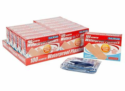 PACK OF 100 First Aid WATERPROOF Assorted PLASTERS