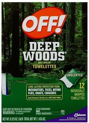Off! Deep Woods Insect Repellent Wipes 12 Towelettes