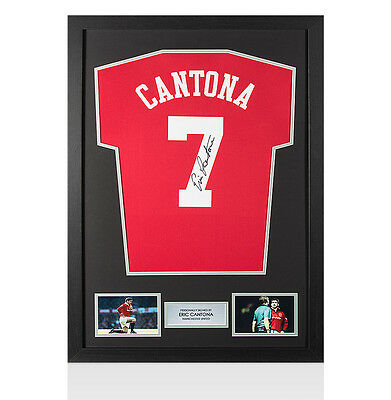 Framed Eric Cantona Signed Manchester United Shirt - Number 7 Autograph