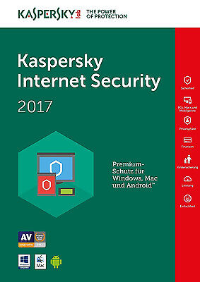 Kaspersky Internet Security 2017 1Gerät / 1PC 1 Jahr Vollversion Lizenz Download