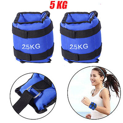 5kg Pro Fitness Resistance Wrist Ankle Weights Gym Running Physical Strength