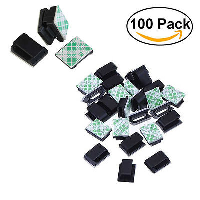 100x Adhesive Wire Cord Cable Holder Tie Clip Organizer Drop Clamp ...