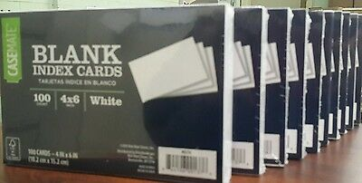 "Case Mate BLANK Index Cards 4"" x 6"" White 10 Packs of 100 New/Sealed w/FREE Ship"