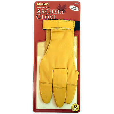 Leather Archery Glove Allen 60531 Damascus Style Traditional 3 Finger Med 60531