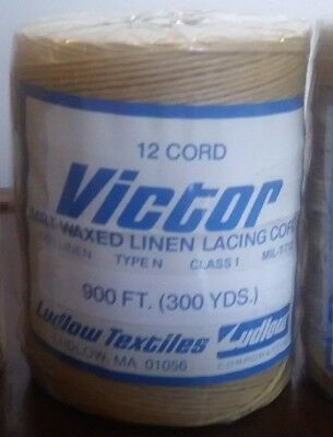 Victor waxed LINEN lacing 12 cord rug braiding weaving 12-ply flax twine - TAN