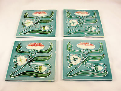 "Antique Majolica Strawberry Tile 6"" Set of 4"