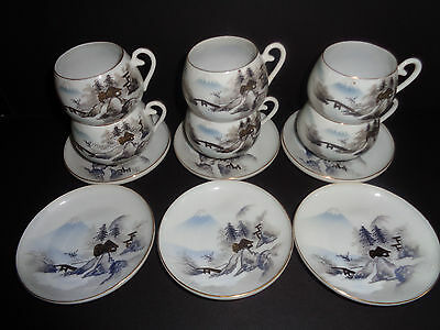 Kutani (6) Antique EGGSHELL PORCELAIN Demitasse CUPS & SAUCERS Hand Painted