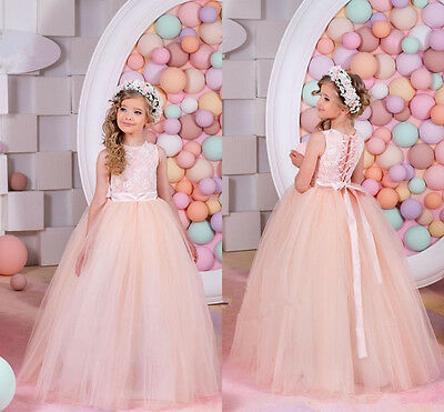 Flower Girl Pageant Dress Formal Ball Gown Princess Party Prom Birthday+