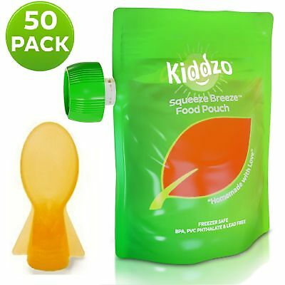 Reusable Food Pouch 6oz (50 Pack) with Spoon - Squeeze Pouches are great ... NEW