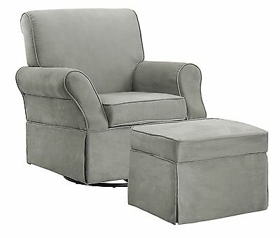Baby Relax The Kelcie Nursery Swivel Glider Chair and Ottoman Set Grey Gray NEW