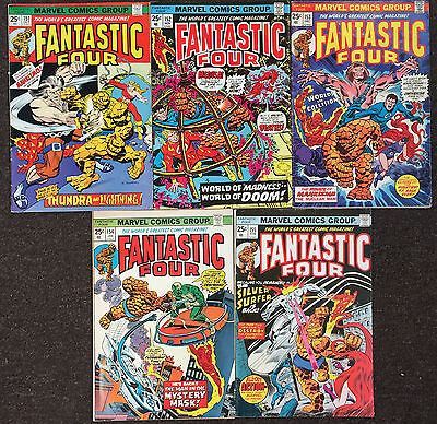 5 Fantastic Four (Series 1) # 151 152 153 154 155 Marvel Comics Fine Lot