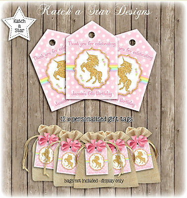 Unicorn Rainbow Faux Gold Birthday Party Personalised Thank You Tags X 12