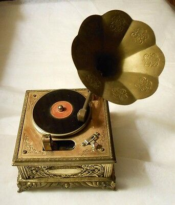 Vintage Phonograph/Victrola Table Lighter with Horn & Music Box Working-Japan