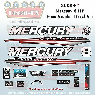 2008+ MERCURY 8HP 4S Decals Four Stroke Reproduction Outboard 16 Pc  Vinyl