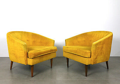 Pair Vintage Mid Century Modern Barrel Back Lounge Chairs Peabody, Baughman Era