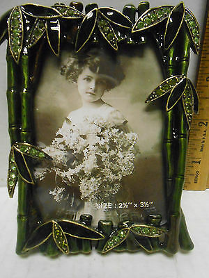 """Tizo Metal Bamboo Picture Photo Frame Stand  Crystals 2 1/2 by 3 1/2"""" in box"""