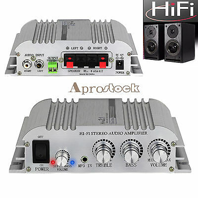 2.1CH HIFI Stereo Audio Amplifier Car Home AMP Super Bass With Power Adapter UK