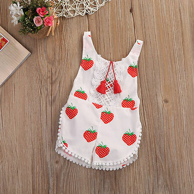 Newborn Baby Girls Strawberry Romper Bodysuit Jumpsuit Clothes Outfits Lovely