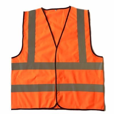 """XL High Visibility Neon Orange Safety Vest with Reflective 2"""" Strips Contruction"""