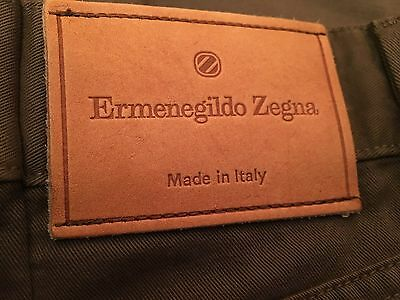 Ermenegildo Zegna Classic Straight Fit Pants Size 33 X 31 Brown Made In Italy