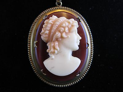 RARE ANTIQUE CZECH Ox Blood Molded Glass Cameo Lavalier Necklace