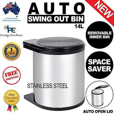 14L Stainless Steel Bin Kitchen Auto Swing Out Lid Rubbish Waste Trash Cupboard