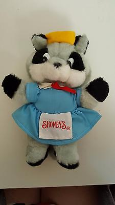 "SHONEY'S Restaurants Rita Raccoon plush toy in excellent condition 9 1/2"" tall"