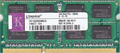2Gb Kingston 1333Mhz Pc3 Ddr3 Non-Ecc Cl9 Sodimm Notebook Memory