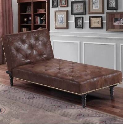 50% OFF- Luxury Vintage Brown Chaise Lounge Small Chair Bed Antique Style Sofa