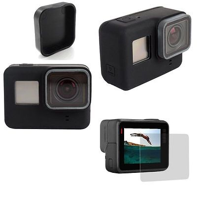 BLACK HD Screen Protective Glass +Len Cap +Silicone Cover Soft Case For GoPro 5
