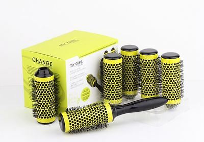 2017 yellow   Click Hair Rollers Curl Brush In A Box medium stylish 7in1