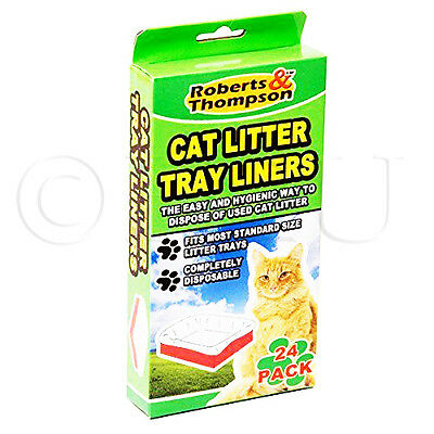 24 Cat Litter Tray Liners Disposable Waste Pet Hygienic Bag Kitten Dog Handles