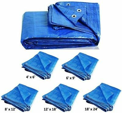 6 Sizes of Heavy Duty Tarpaulin Blue Waterproof Strong Cover Ground Sheet Tarp